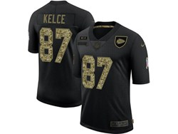 Mens Nfl Kansas City Chiefs #87 Travis Kelce Black Camo Number Nike 2020 Salute To Service Limited Jersey
