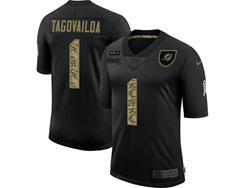 Mens Miami Dolphins #1 Tua Tagovailoa Black Camo Number Nike 2020 Salute To Service Limited Jersey