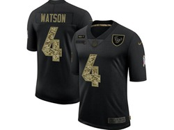 Mens Nfl Houston Texans #4 Deshaun Watson Black Camo Number Nike 2020 Salute To Service Limited Jersey