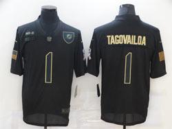 Mens Miami Dolphins #1 Tua Tagovailoa Black 2020 Nike Salute To Service Limited Jersey