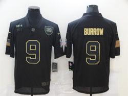 Mens Nfl Cincinnati Bengals #9 Joe Burrow Black 2020 Nike Salute To Service Limited Jersey