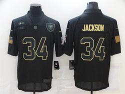 Mens Nfl Las Vegas Raiders #34 Bo Jackson Black 2020 Nike Salute To Service Limited Jersey