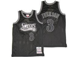 Mens Nba Philadelphia 76ers #3 Allen Iverson Black Embroidery Mitchell&ness Hardwood Classics Jersey