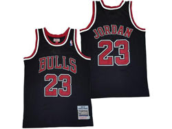 Mens Nba Chicago Bulls #23 Michael Jordan Black Embroidery Mitchell&ness Hardwood Classics Jersey