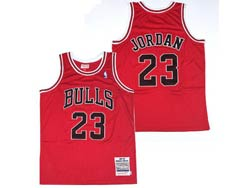 Mens Nba Chicago Bulls #23 Michael Jordan Red Embroidery Mitchell&ness Hardwood Classics Jersey