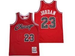 Mens Nba Chicago Bulls #23 Michael Jordan Red Embroidery Chicago On Front Mitchell&ness Hardwood Classics Jersey