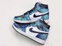 Mens And Women Air Jordan 1 Tie-dye Running Shoes One Color
