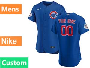 Mens Nike 2020 Chicago Cubs Custom Made Blue Flex Base Jersey