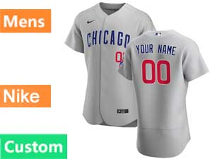 Mens Nike 2020 Chicago Cubs Custom Made Gray Flex Base Jersey