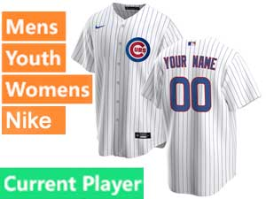 Mens Women Youth Nike 2020 Chicago Cubs White Stripe Cool Base Current Player Jersey