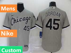 Mens Nike 2020 Chicago White Sox Custom Made Gray Flex Base Jersey