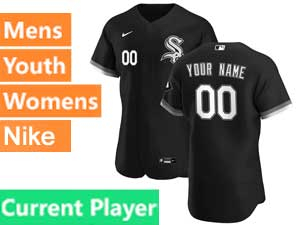 Mens Womens Youth Nike 2020 Chicago White Sox Cool Base Current Player Black Alternate Jersey
