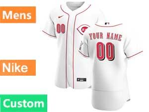 Mens Nike 2020 Cincinnati Reds Custom Made White Flex Base Home Jersey