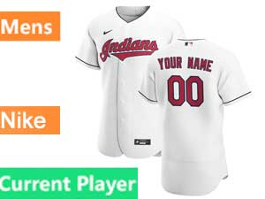 Mens Nike 2020 Cleveland Indians Flex Base Current Player White Home Jersey