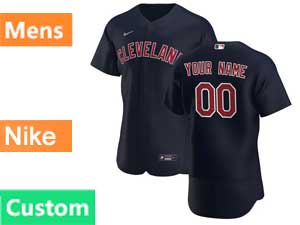 Mens Mlb Nike 2020 Cleveland Indians Custom Made Black Alternate Flex Base Jersey