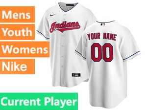 Mens Womens Youth Nike 2020 Cleveland Indians White Cool Base Current Player Home Jersey