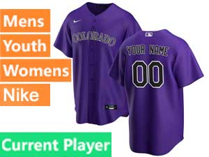 Mens Womens Youth 2020 Nike Colorado Rockies Purple Cool Base Current Player Alternate Jersey