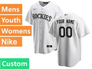 Mens Womens Youth Mlb Nike 2020 Colorado Rockies Custom Made White Stripe Cool Base  Home Jersey