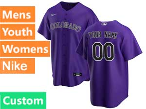 Mens Womens Youth Mlb Nike 2020 Colorado Rockies Custom Made Purple Stripe Cool Base Alternate Jersey