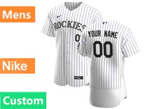 Mens Mlb Nike 2020 Colorado Rockies Custom Made Flex Base White Home Jersey