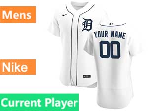 Mens Nike 2020 Mlb Detroit Tigers White Flex Base Current Player Home Jersey