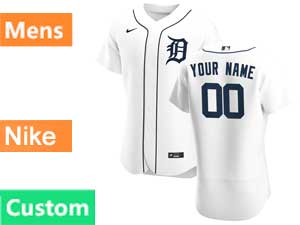 Mens Nike 2020 Mlb Detroit Tigers White Flex Base Custom Made Home Jersey