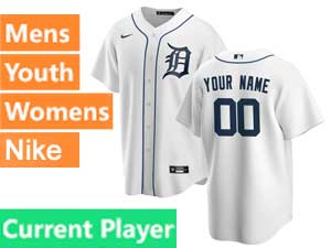 Mens Womens Youth Nike 2020 Mlb Detroit Tigers White Cool Base Current Player Home Jersey