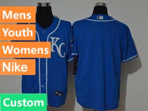 Mens Women Youth Mlb Kansas City Royals Custom Made Blue Flex Base 2020 Nike Jersey
