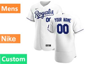 Mens Women Youth Mlb Kansas City Royals Custom Made White Flex Base 2020 Nike Home Jersey