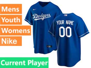 Mens Womens Youth Mlb Los Angeles Dodgers Custom Made Blue Cool Base 2020 Nike Alternate Jersey