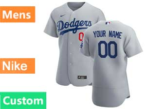 Mens Mlb Los Angeles Dodgers Gray Custom Made Flex Base 2020 Nike Gray Road Jersey