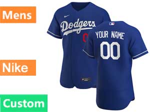Mens Mlb Los Angeles Dodgers Gray Custom Made Flex Base 2020 Nike Blue Alternate Jersey