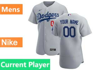 Mens Mlb Los Angeles Dodgers Current Player 2020 Nike Flex Base Gray Road Jersey