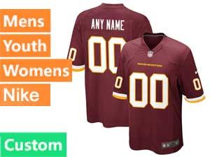 Mens Womens Youth Nfl Washington Football Team Custom Made Nike Red Game Jersey