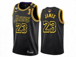 Mens Nba Los Angeles Lakers #23 Lebron James Black 2020 Finals Champion Swingman Nike Jersey