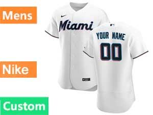 Mens Mlb Miami Marlins Custom Made Nike 2020 White Flex Base Home Jersey
