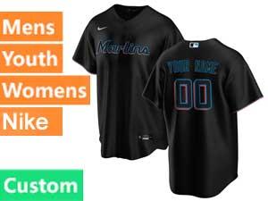 Mens Mlb Miami Marlins Custom Made Black Cool Base 2020 Alternate Nike Jersey