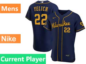 Mens Mlb Milwaukee Brewers Current Player Navy Blue Flex Base Nike 2020 Alternate Jersey
