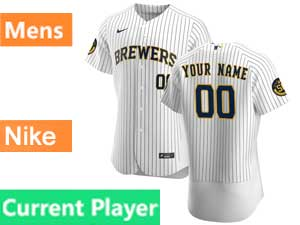 Mens Mlb Milwaukee Brewers Current Player Flex Base Nike 2020 White Home Jersey