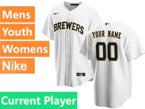 Mens Womens Youth Mlb Milwaukee Brewers Current Player Nike 2020 White Home Cool Base Jersey