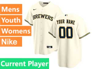Mens Womens Youth Mlb Milwaukee Brewers Current Player Nike 2020 Cream Home Cool Base Jersey