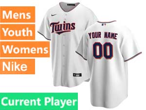 Mens Womens Youth Minnesota Twins Current Player Nike 2020 Home White Cool Base Jersey