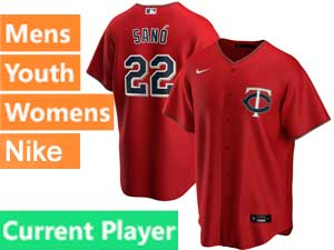 Mens Womens Youth Minnesota Twins Current Player Nike 2020 Alternate Red Cool Base Jersey