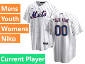 Mens Womens Youth Mlb New York Mets White Stripe Current Player White Home Nike 2020 Cool Base Jersey