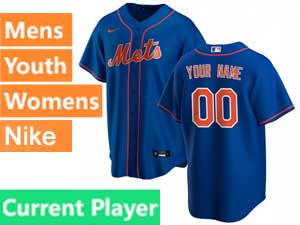 Mens Womens Youth Mlb New York Mets White Stripe Current Player Blue Alternate Nike 2020 Cool Base Jersey