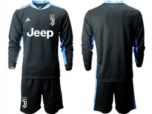 Mens 20-21 Soccer Juventus Club ( Custom Made ) Black Goalkeeper Long Sleeve Suit Jersey