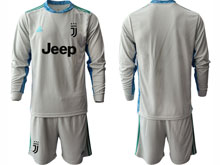 Mens 20-21 Soccer Juventus Club ( Custom Made ) Gray Goalkeeper Long Sleeve Suit Jersey
