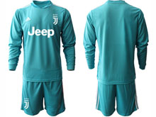 Mens 20-21 Soccer Juventus Club ( Custom Made ) Blue Goalkeeper Long Sleeve Suit Jersey