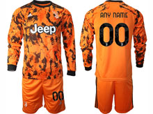 Mens 20-21 Soccer Juventus Club ( Custom Made ) Yellow Second Away Long Sleeve Suit Jersey