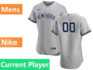 Mens New York Yankees Current Player Nike 2020 Gray Road Flex Base Jersey